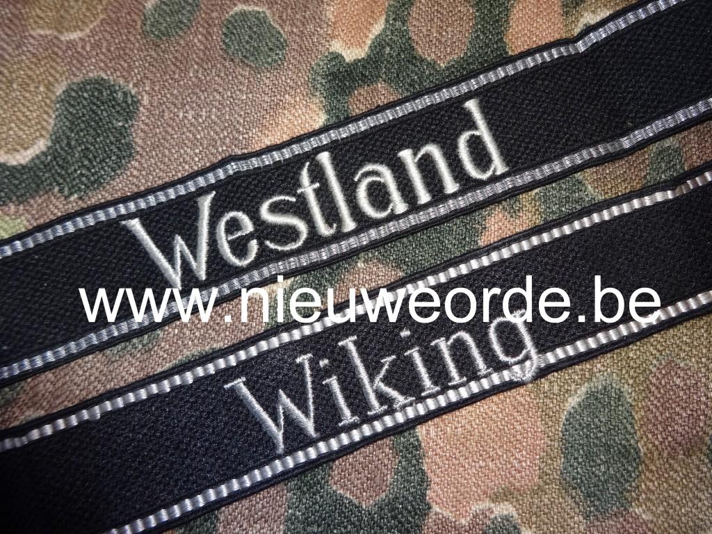 Waffen-SS 'Westland' en 'Wiking' armbanden in machine geborduurde RZM-manschappenuitvoering.