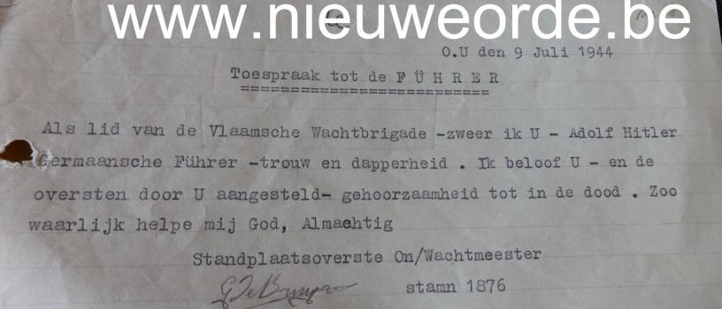 Attest van de eed op Adolf Hitler, afgelegd door lid van de Vlaamse Wachtbrigade