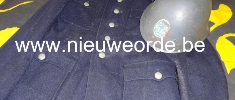 Uniformjas en helm Vlaamse Wacht, I. Afdeling (Gent)