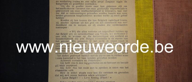 Zeldzaam belgicistisch strooibriefje 'Aan de Vlamingen', IJzerbedevaart 1930