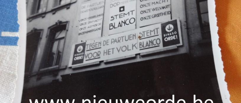 """Dinaso-huis in Mechelen jaren '30: """"De partijen zijn zelfs geen dop meer waard. STEMT BLANCO"""""""