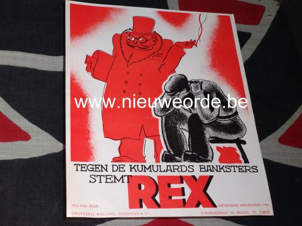 'Tegen de kumulards, banksters': Rex verkiezingsaffiche, parlementsverkiezingen 1936